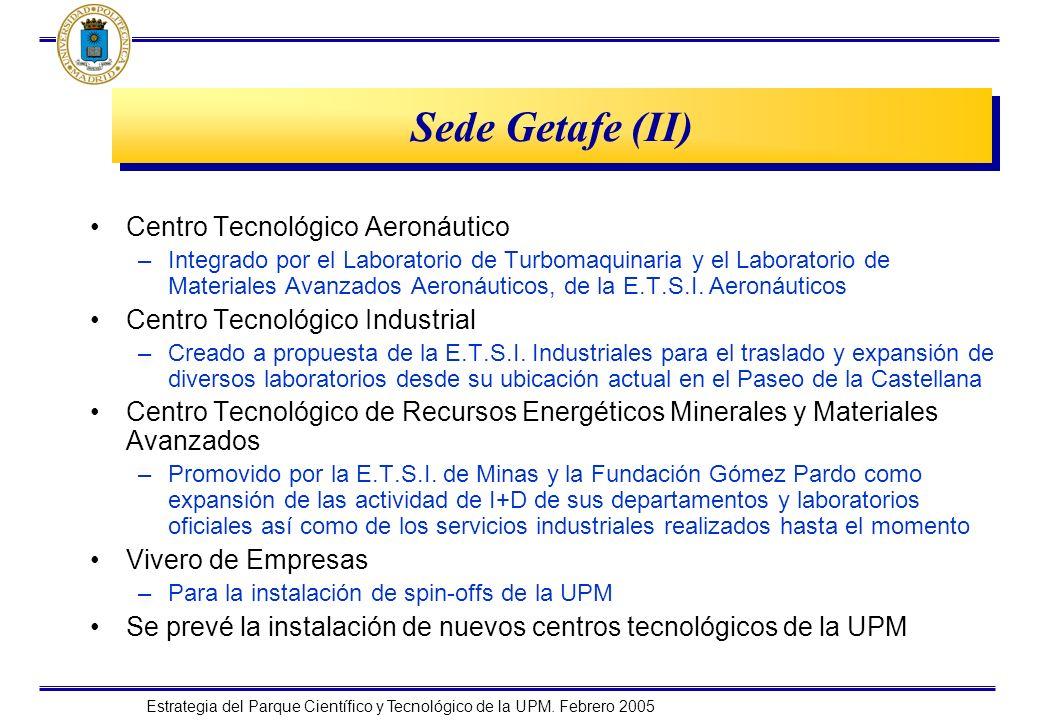 Estrategia del Parque Científico y Tecnológico de la UPM. Febrero 2005 Sede Getafe (II) Centro Tecnológico Aeronáutico –Integrado por el Laboratorio d