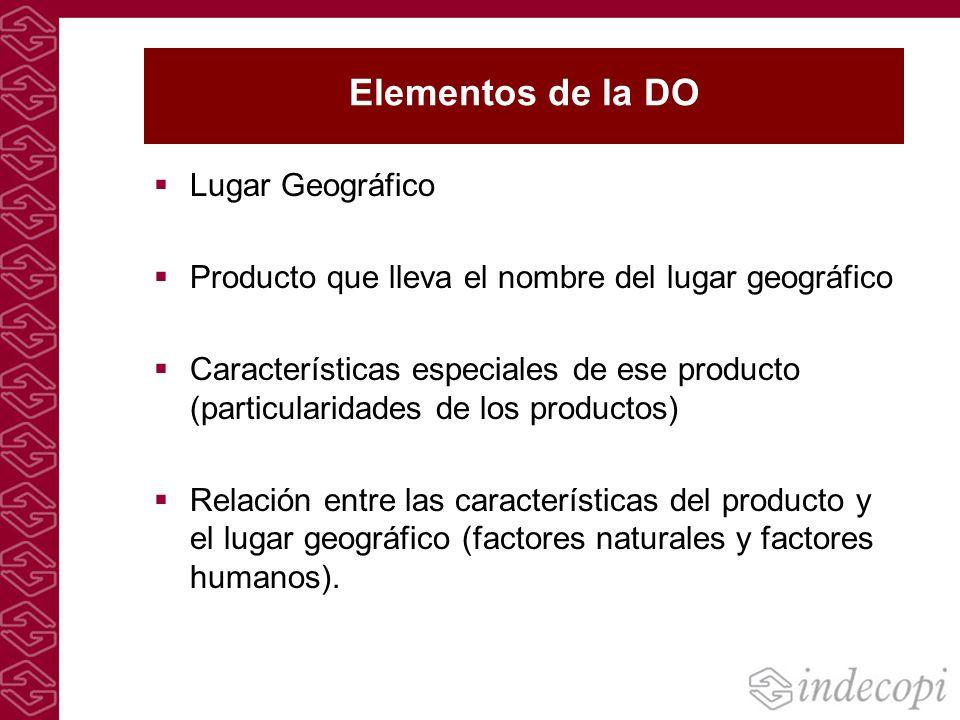 Elementos de la DO Lugar Geográfico Producto que lleva el nombre del lugar geográfico Características especiales de ese producto (particularidades de