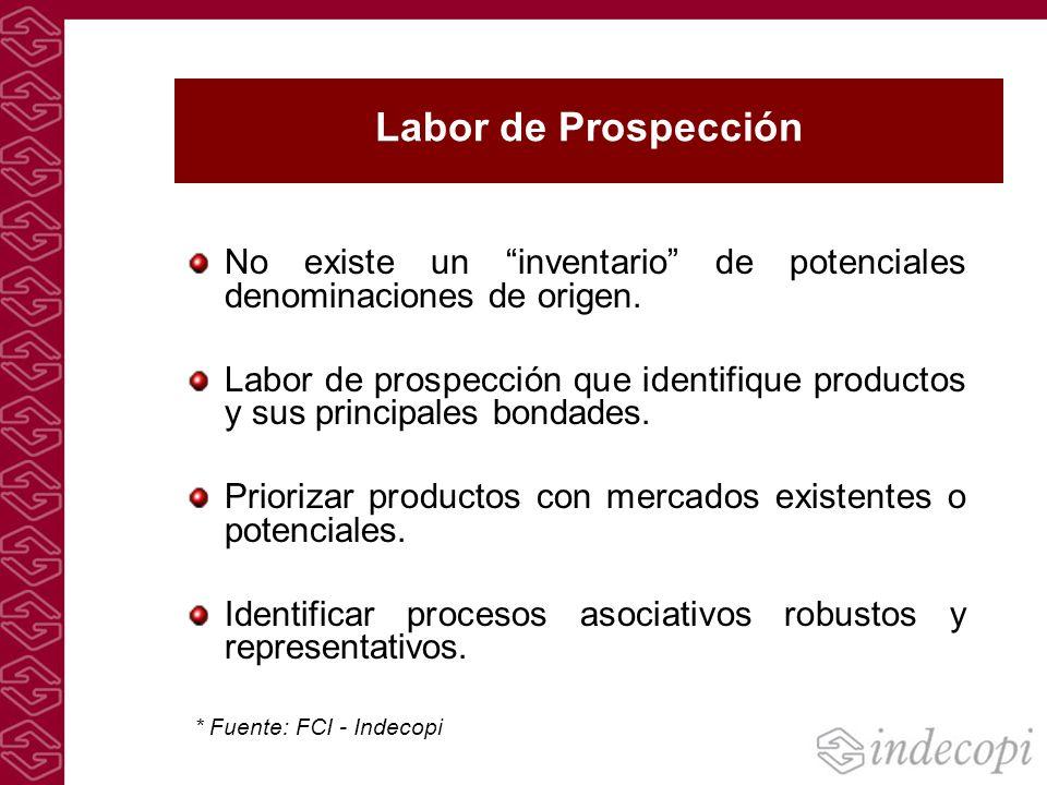 Labor de Prospección No existe un inventario de potenciales denominaciones de origen. Labor de prospección que identifique productos y sus principales