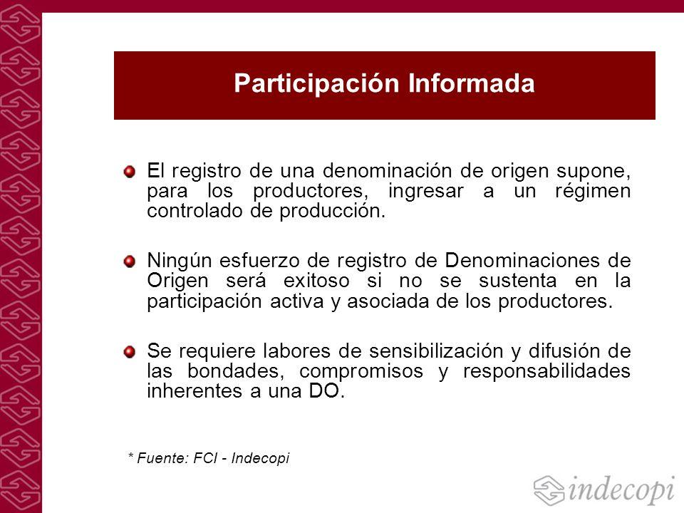 Participación Informada El registro de una denominación de origen supone, para los productores, ingresar a un régimen controlado de producción. Ningún