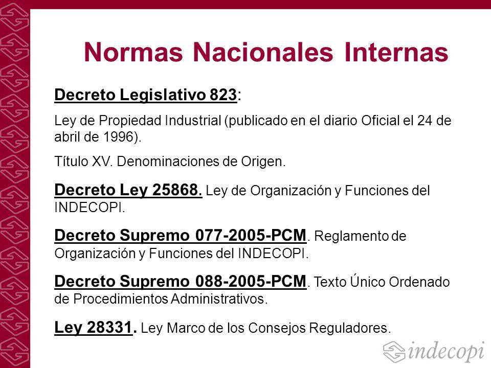 Normas Nacionales Internas Decreto Legislativo 823: Ley de Propiedad Industrial (publicado en el diario Oficial el 24 de abril de 1996). Título XV. De