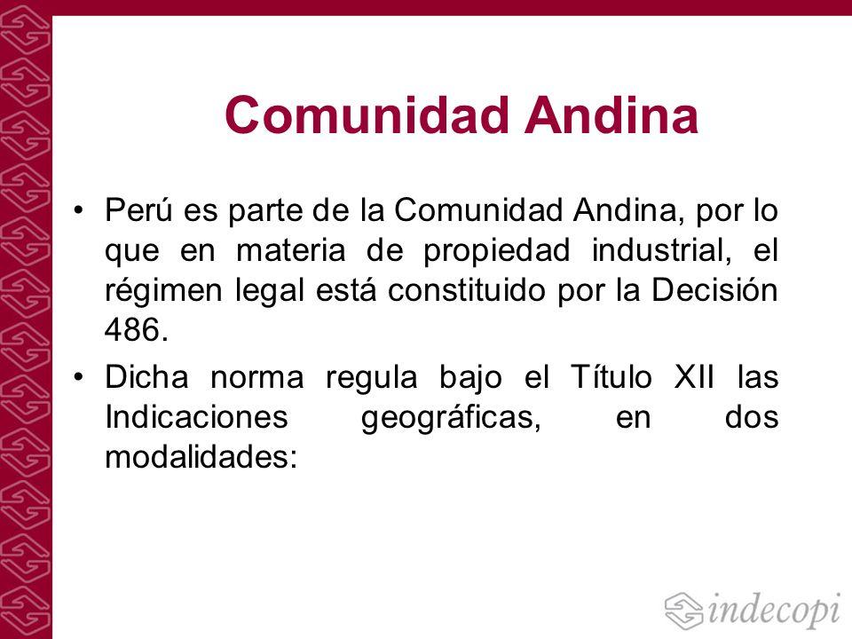 Comunidad Andina Perú es parte de la Comunidad Andina, por lo que en materia de propiedad industrial, el régimen legal está constituido por la Decisió