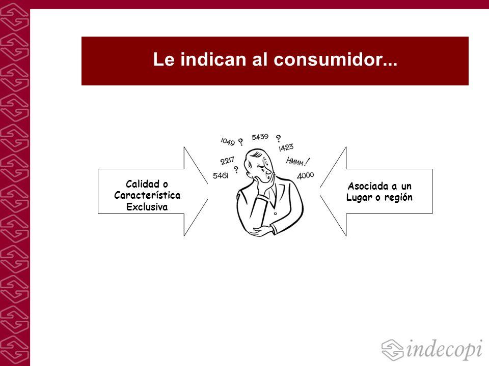 Le indican al consumidor... Calidad o Característica Exclusiva Asociada a un Lugar o región