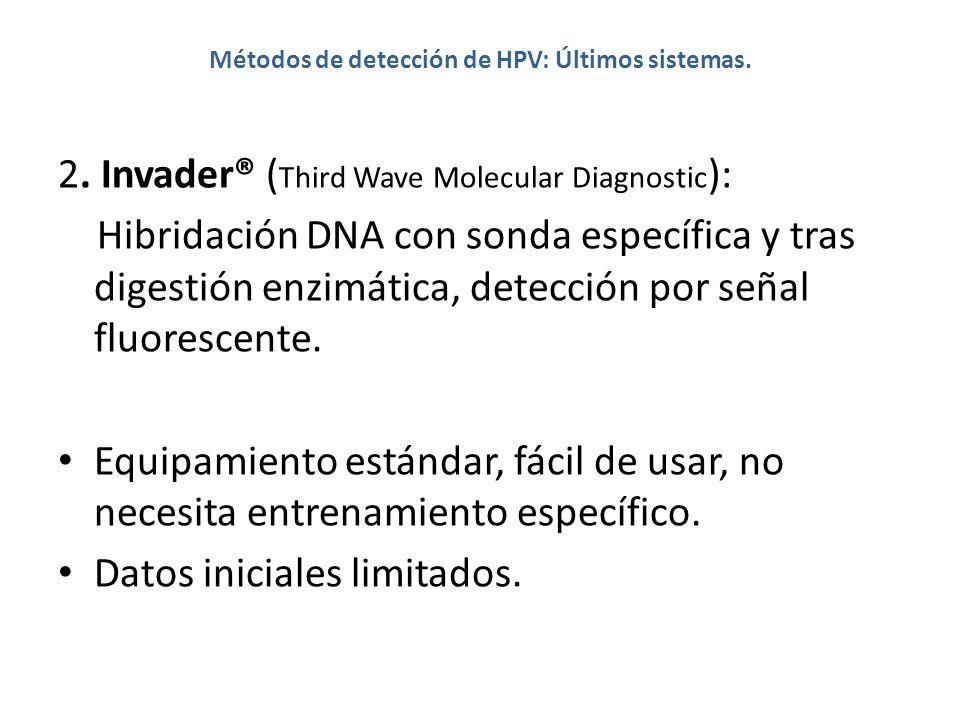 Métodos de detección de HPV: Últimos sistemas. 2. Invader® ( Third Wave Molecular Diagnostic ): Hibridación DNA con sonda específica y tras digestión