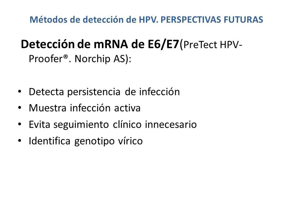 Métodos de detección de HPV. PERSPECTIVAS FUTURAS Detección de mRNA de E6/E7( PreTect HPV- Proofer®. Norchip AS): Detecta persistencia de infección Mu