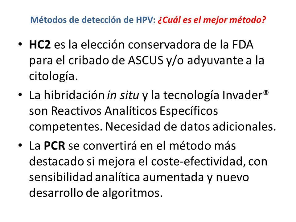 Métodos de detección de HPV: ¿Cuál es el mejor método? HC2 es la elección conservadora de la FDA para el cribado de ASCUS y/o adyuvante a la citología