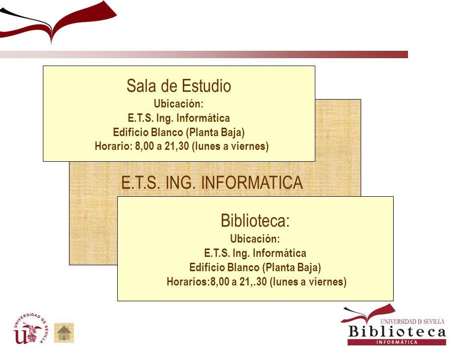 Biblioteca de Ingeniería Informática Horario : 8,00 a 21,30 lunes a viernes Teléfono: 954 55 2760/61/1696 Http: http://bib.us.es/informatica/index-ide