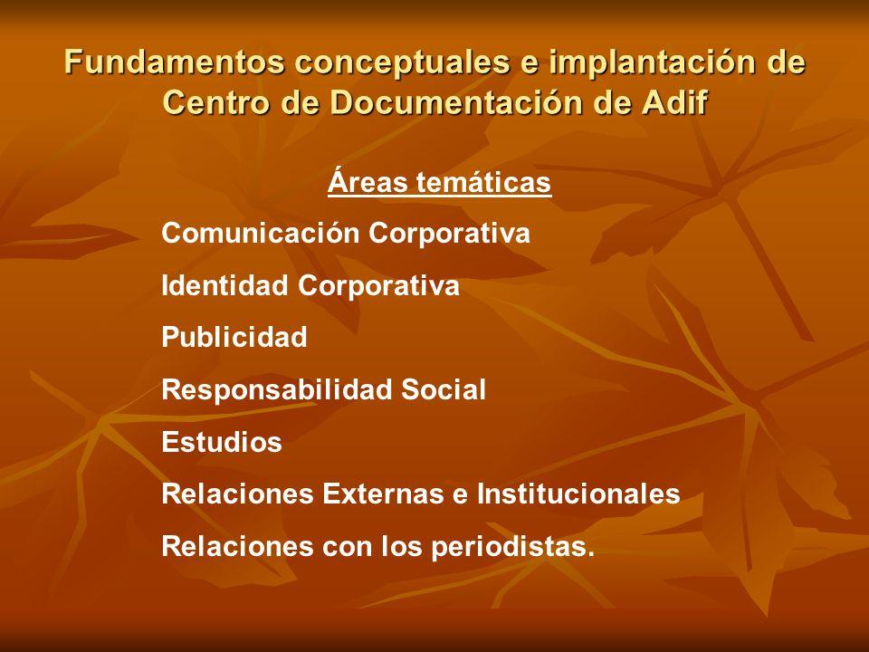 Fundamentos conceptuales e implantación de Centro de Documentación de Adif Áreas temáticas Comunicación Corporativa Identidad Corporativa Publicidad R