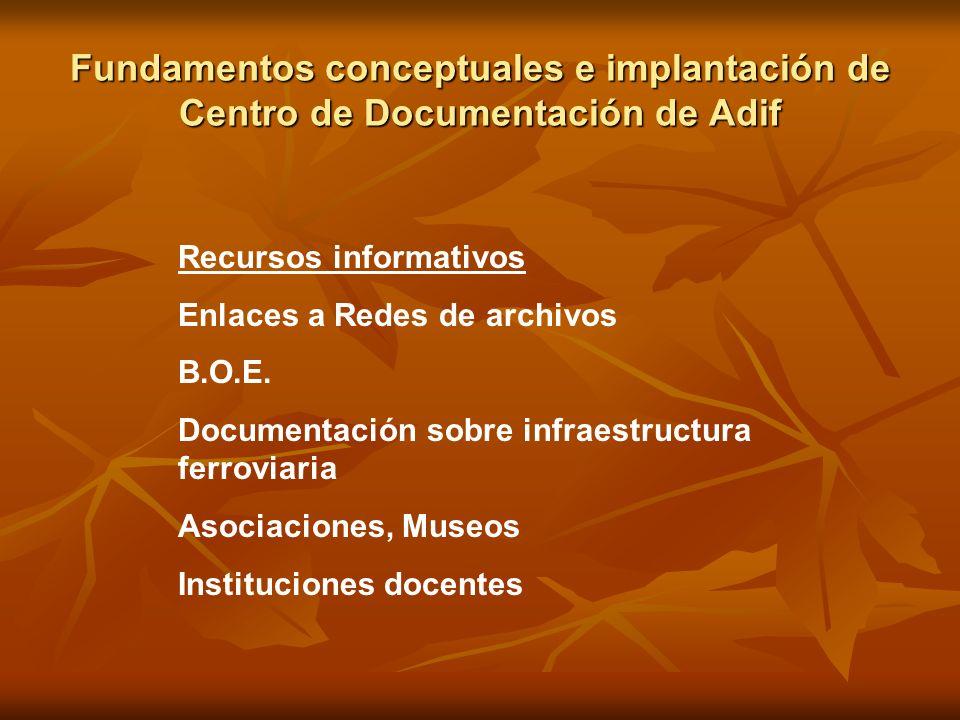 Fundamentos conceptuales e implantación de Centro de Documentación de Adif Recursos informativos Enlaces a Redes de archivos B.O.E. Documentación sobr