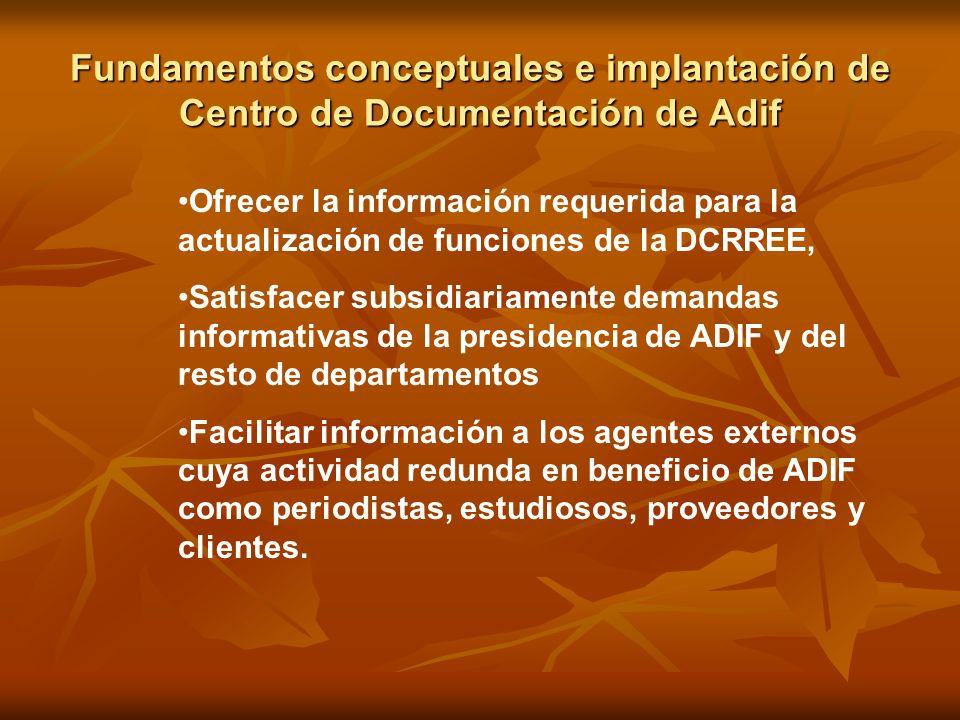 Fundamentos conceptuales e implantación de Centro de Documentación de Adif Ofrecer la información requerida para la actualización de funciones de la D