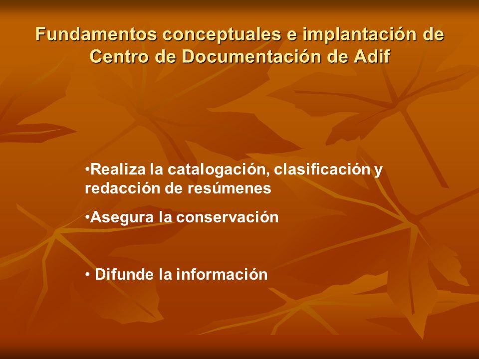 Fundamentos conceptuales e implantación de Centro de Documentación de Adif Realiza la catalogación, clasificación y redacción de resúmenes Asegura la