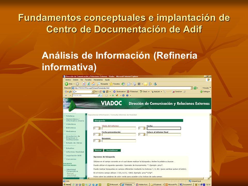 Fundamentos conceptuales e implantación de Centro de Documentación de Adif Análisis de Información (Refinería informativa)