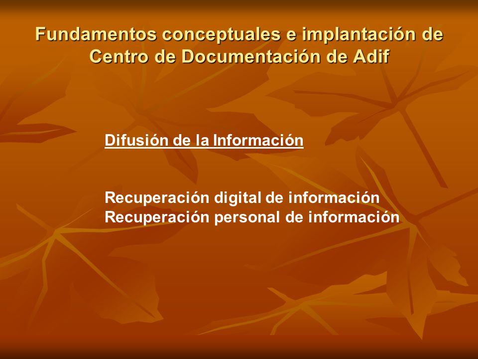 Fundamentos conceptuales e implantación de Centro de Documentación de Adif Difusión de la Información Recuperación digital de información Recuperación