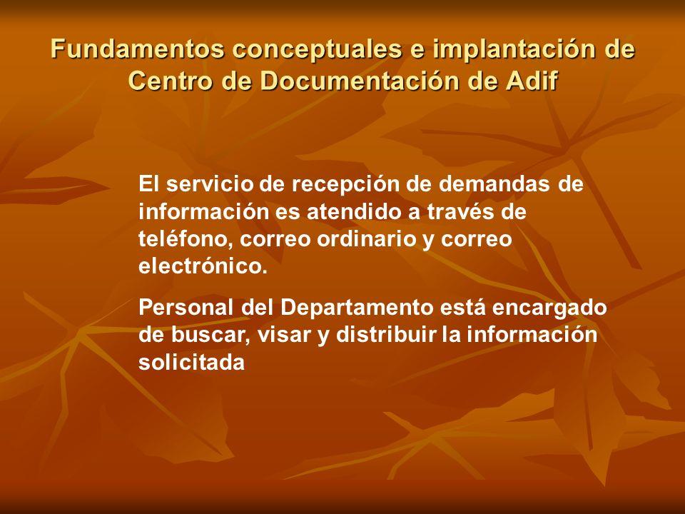 Fundamentos conceptuales e implantación de Centro de Documentación de Adif El servicio de recepción de demandas de información es atendido a través de
