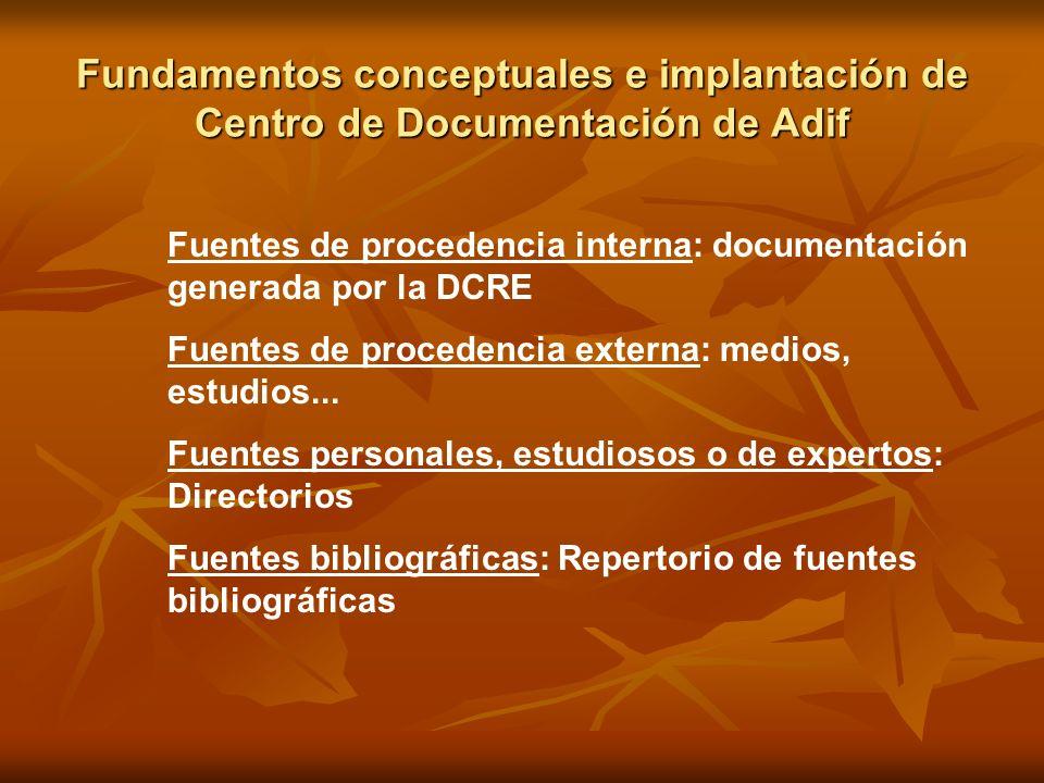 Fundamentos conceptuales e implantación de Centro de Documentación de Adif Fuentes de procedencia interna: documentación generada por la DCRE Fuentes
