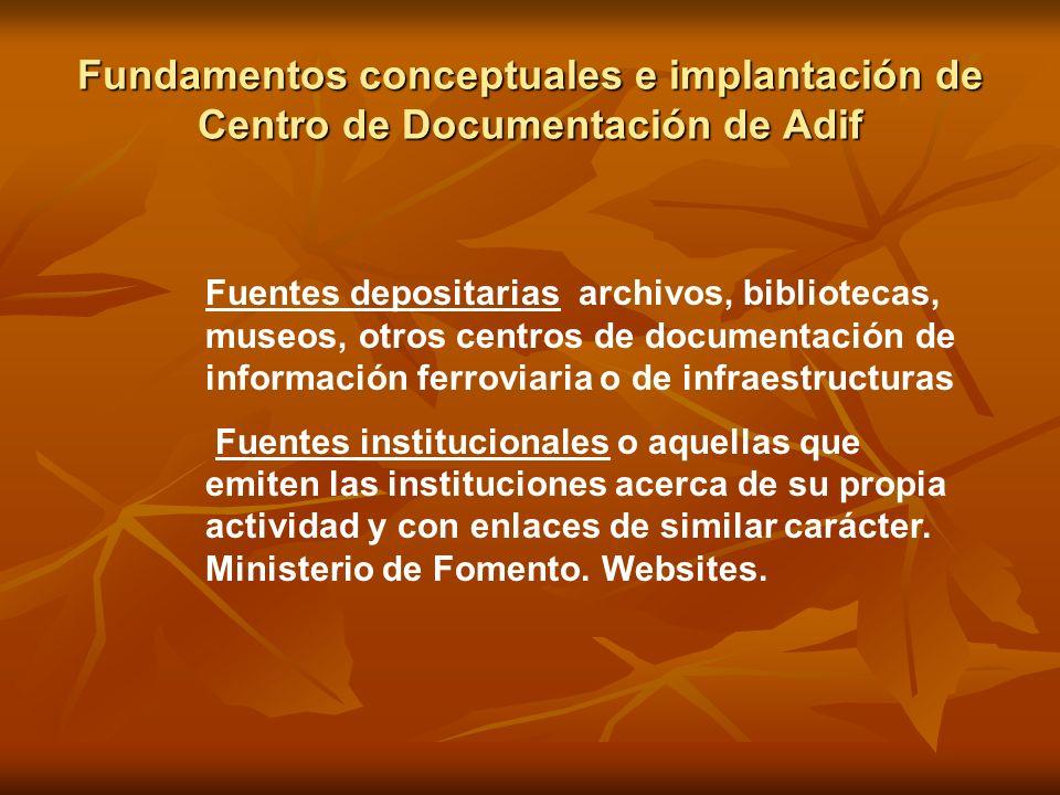 Fundamentos conceptuales e implantación de Centro de Documentación de Adif Fuentes depositarias archivos, bibliotecas, museos, otros centros de docume