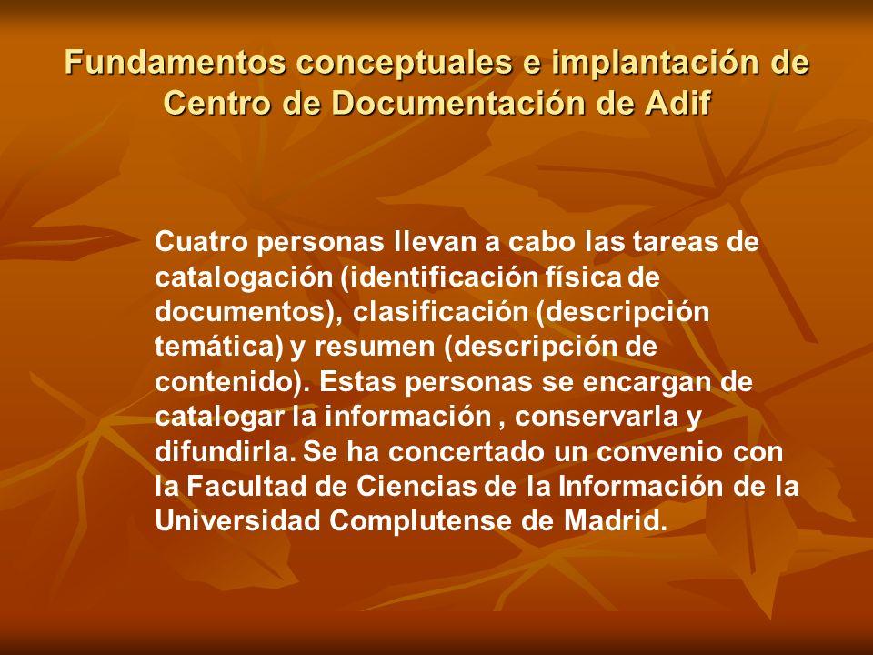 Fundamentos conceptuales e implantación de Centro de Documentación de Adif Cuatro personas llevan a cabo las tareas de catalogación (identificación fí