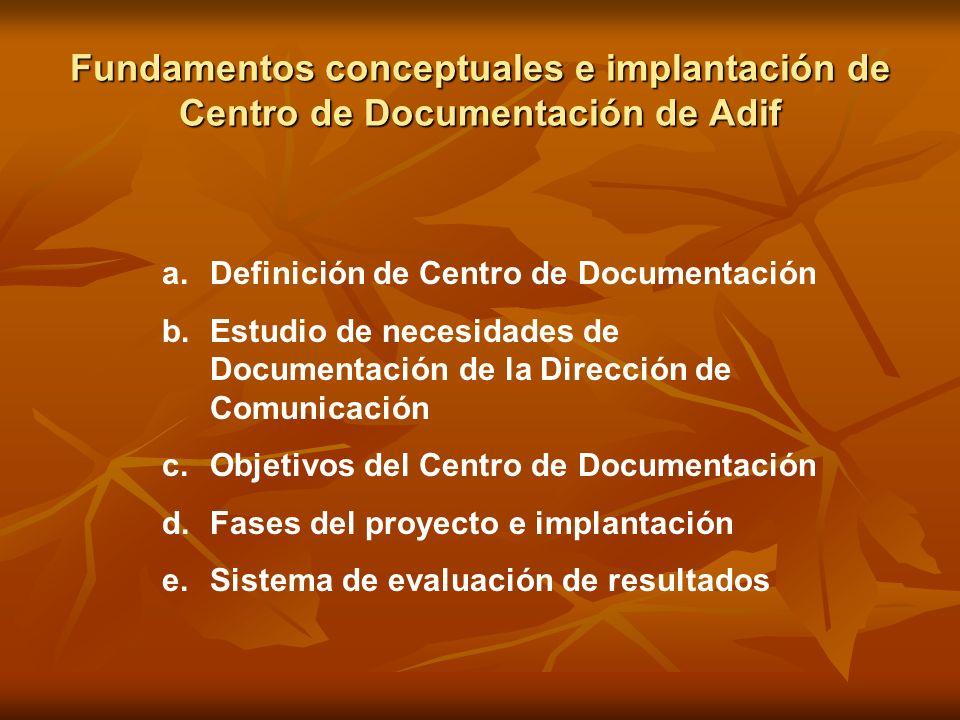 Fundamentos conceptuales e implantación de Centro de Documentación de Adif a.Definición de Centro de Documentación b.Estudio de necesidades de Documen
