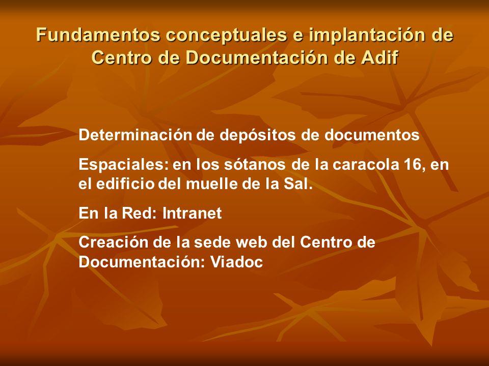Fundamentos conceptuales e implantación de Centro de Documentación de Adif Determinación de depósitos de documentos Espaciales: en los sótanos de la c