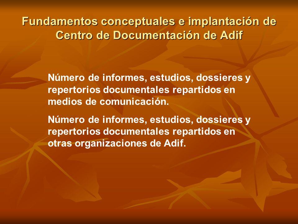 Fundamentos conceptuales e implantación de Centro de Documentación de Adif Número de informes, estudios, dossieres y repertorios documentales repartid