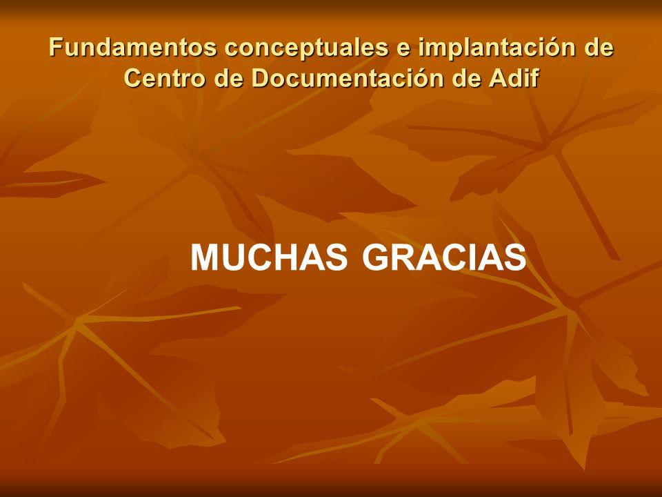 Fundamentos conceptuales e implantación de Centro de Documentación de Adif MUCHAS GRACIAS
