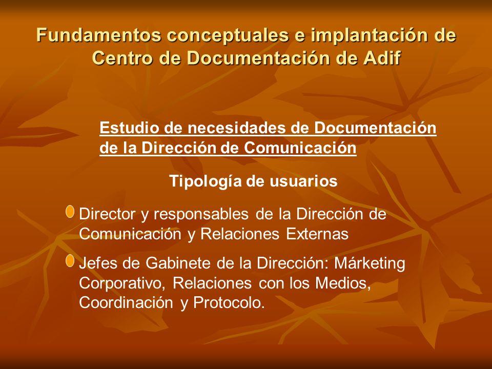 Fundamentos conceptuales e implantación de Centro de Documentación de Adif Estudio de necesidades de Documentación de la Dirección de Comunicación Tip