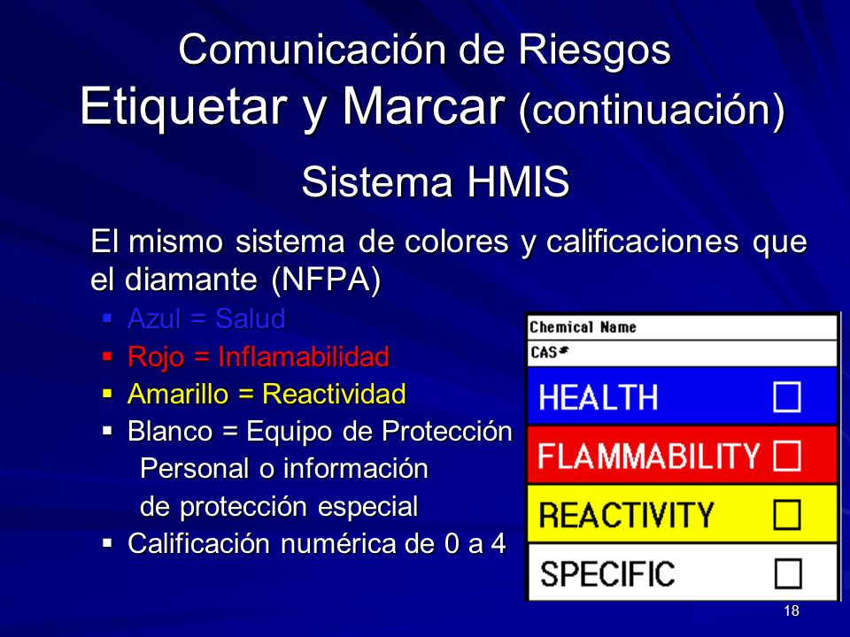 18 Comunicación de Riesgos Etiquetar y Marcar (continuación) Sistema HMIS El mismo sistema de colores y calificaciones que el diamante (NFPA) Azul = S