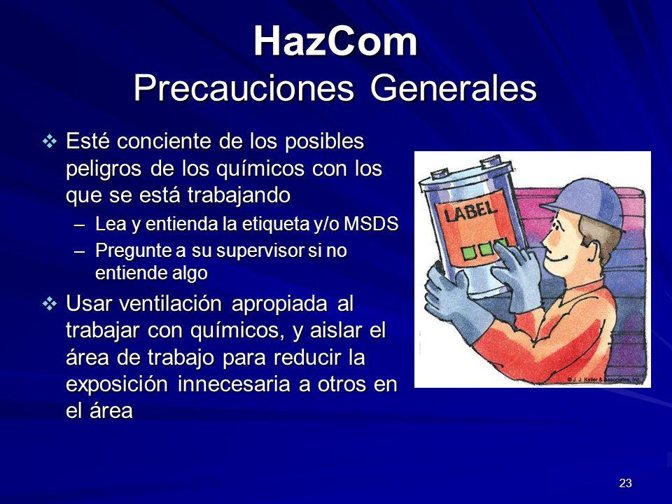 23 HazCom Precauciones Generales Esté conciente de los posibles peligros de los químicos con los que se está trabajando Esté conciente de los posibles