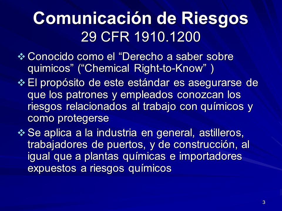 3 Comunicación de Riesgos 29 CFR 1910.1200 Conocido como el Derecho a saber sobre quimicos (Chemical Right-to-Know ) Conocido como el Derecho a saber