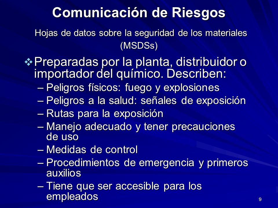9 Comunicación de Riesgos Hojas de datos sobre la seguridad de los materiales (MSDSs) Preparadas por la planta, distribuidor o importador del químico.