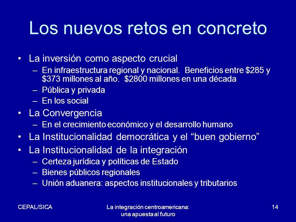 CEPAL/SICALa integración centroamericana: una apuesta al futuro 14 Los nuevos retos en concreto La inversión como aspecto crucial –En infraestructura regional y nacional.
