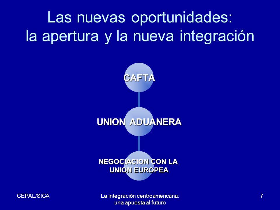 CEPAL/SICALa integración centroamericana: una apuesta al futuro 7 Las nuevas oportunidades: la apertura y la nueva integración