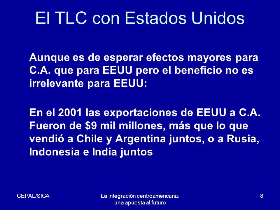 CEPAL/SICALa integración centroamericana: una apuesta al futuro 8 El TLC con Estados Unidos Aunque es de esperar efectos mayores para C.A.