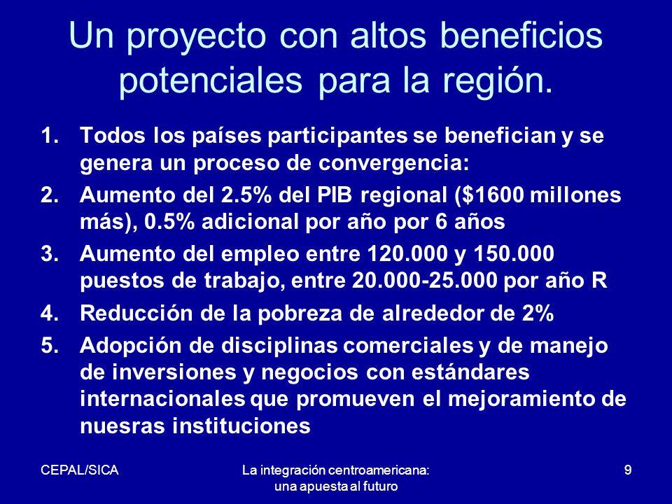 CEPAL/SICALa integración centroamericana: una apuesta al futuro 9 Un proyecto con altos beneficios potenciales para la región.