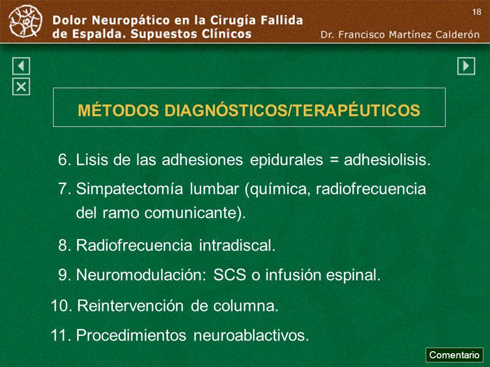 MÉTODOS DIAGNÓSTICOS/TERAPÉUTICOS 8. Radiofrecuencia intradiscal. 9. Neuromodulación: SCS o infusión espinal. 6. Lisis de las adhesiones epidurales =