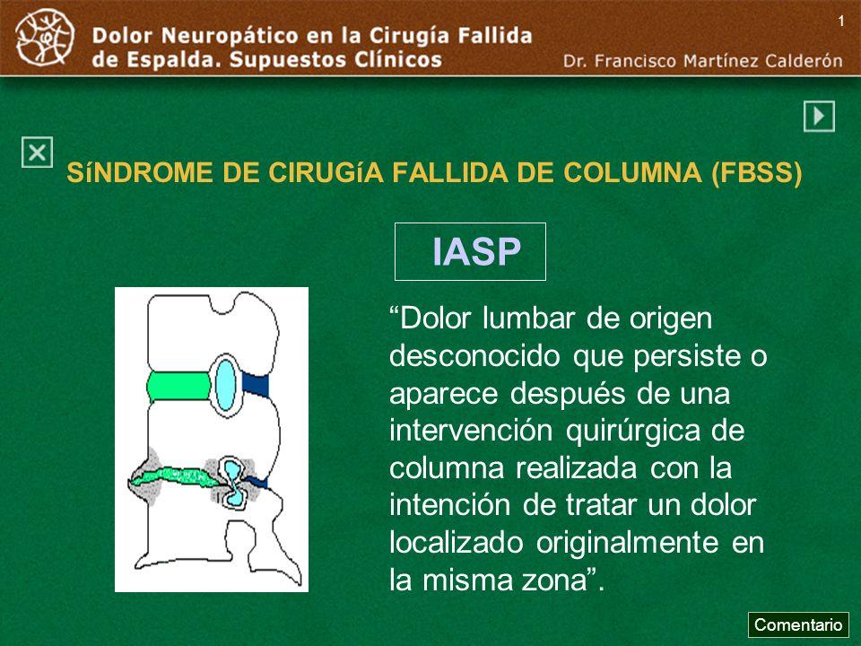SíNDROME DE CIRUGíA FALLIDA DE COLUMNA (FBSS) Dolor lumbar de origen desconocido que persiste o aparece después de una intervención quirúrgica de colu