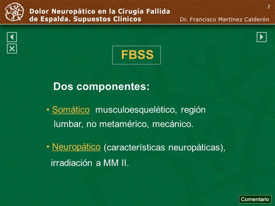FBSS Dos componentes: Somático musculoesquelético, región lumbar, no metamérico, mecánico. Neuropático Comentario 2 (características neuropáticas), ir