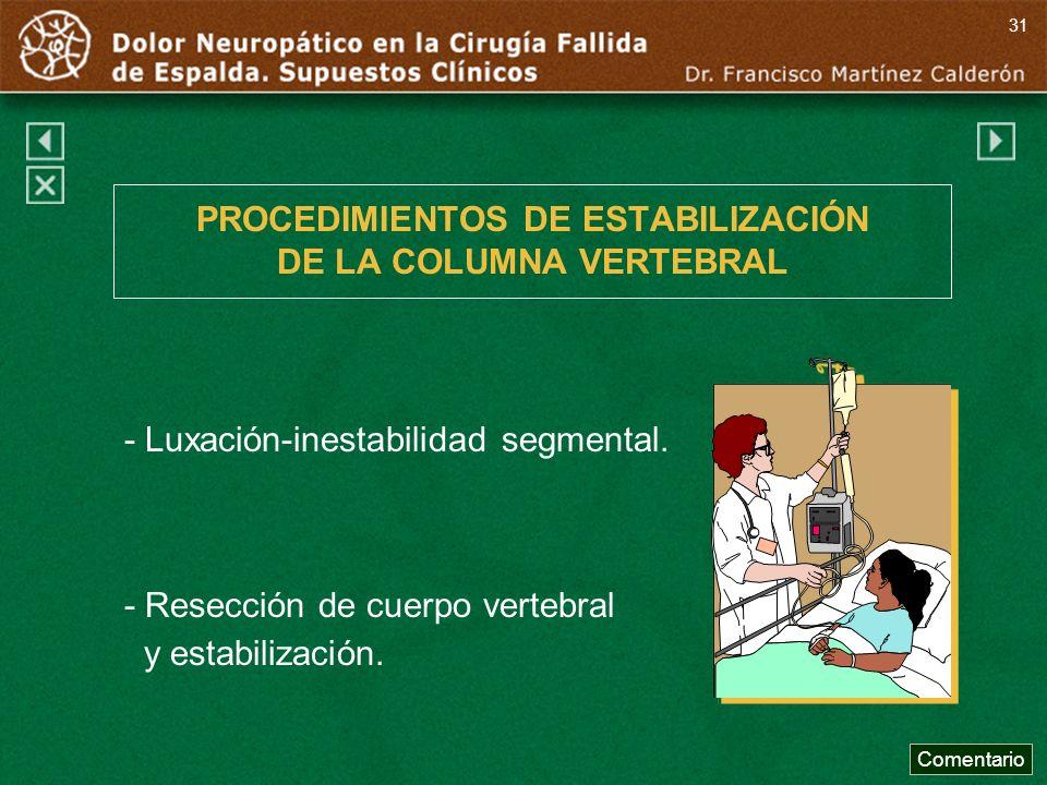 PROCEDIMIENTOS DE ESTABILIZACIÓN DE LA COLUMNA VERTEBRAL - Luxación-inestabilidad segmental. - Resección de cuerpo vertebral y estabilización. Comenta