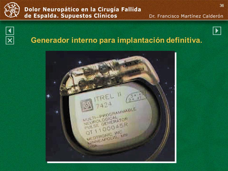 36 Generador interno para implantación definitiva.
