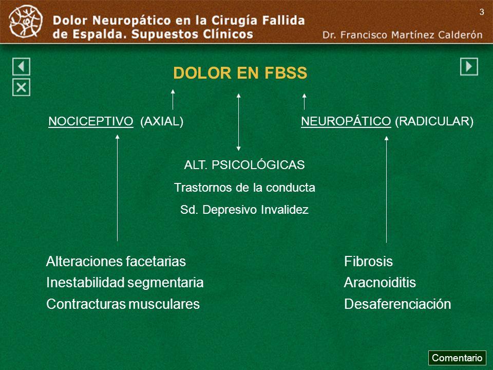 DOLOR EN FBSS NOCICEPTIVO (AXIAL)NEUROPÁTICO (RADICULAR) ALT. PSICOLÓGICAS Trastornos de la conducta Sd. Depresivo Invalidez Alteraciones facetarias I