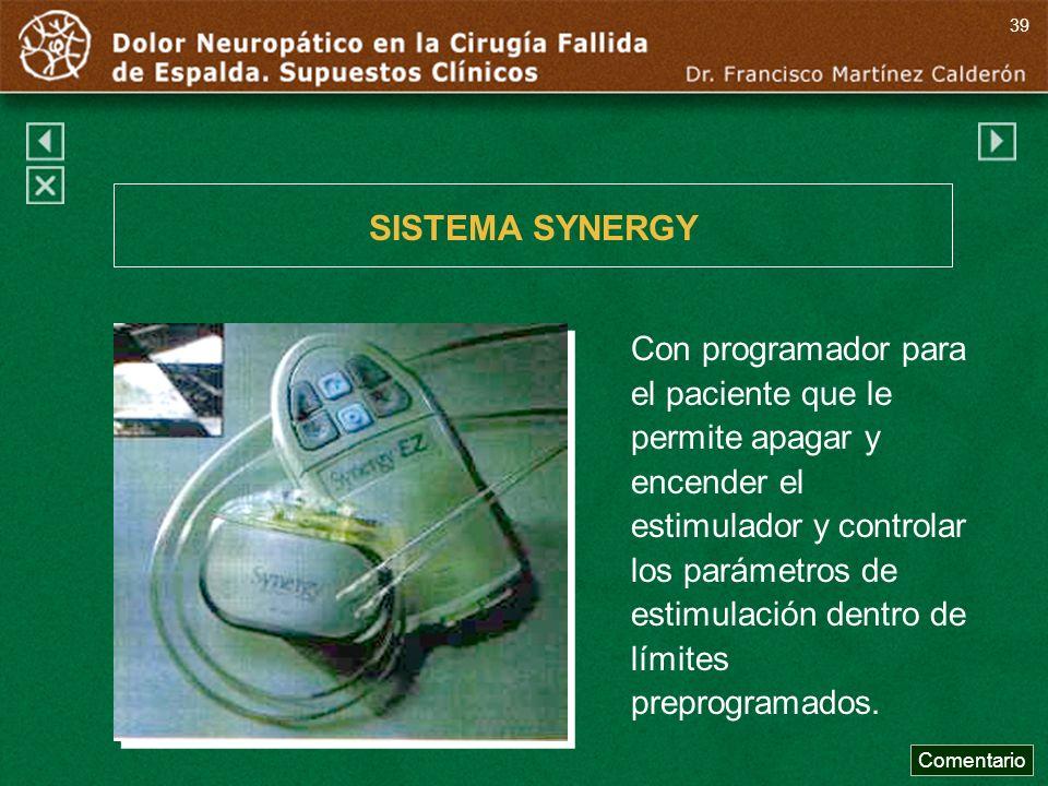Con programador para el paciente que le permite apagar y encender el estimulador y controlar los parámetros de estimulación dentro de límites preprogr
