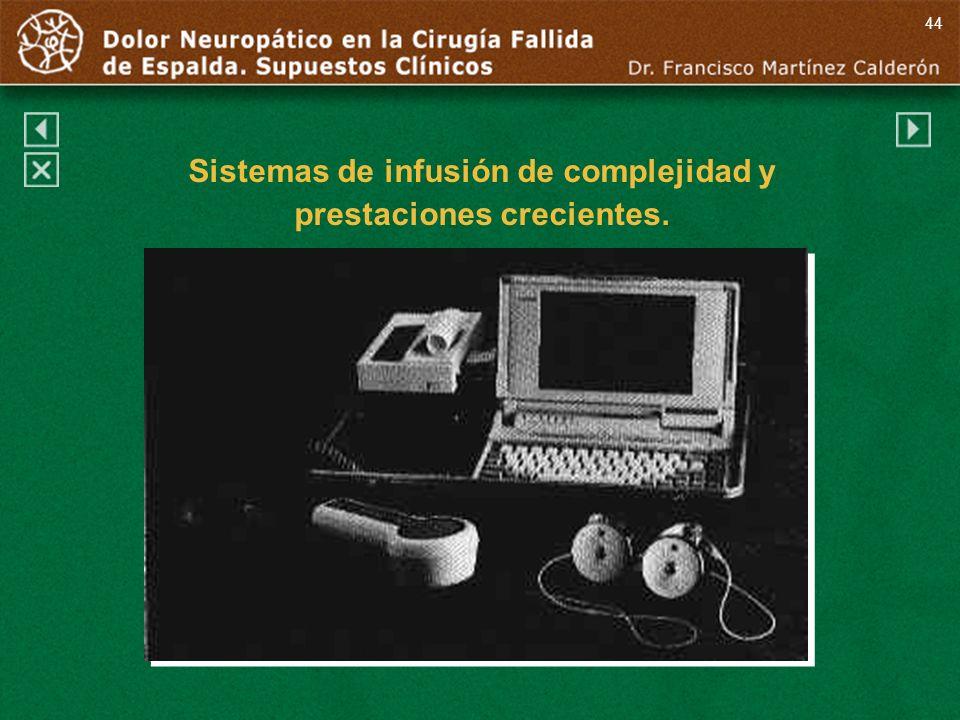 44 Sistemas de infusión de complejidad y prestaciones crecientes.