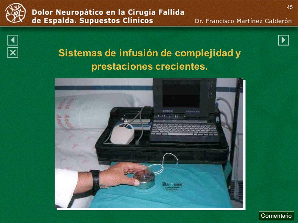 Comentario 45 Sistemas de infusión de complejidad y prestaciones crecientes.