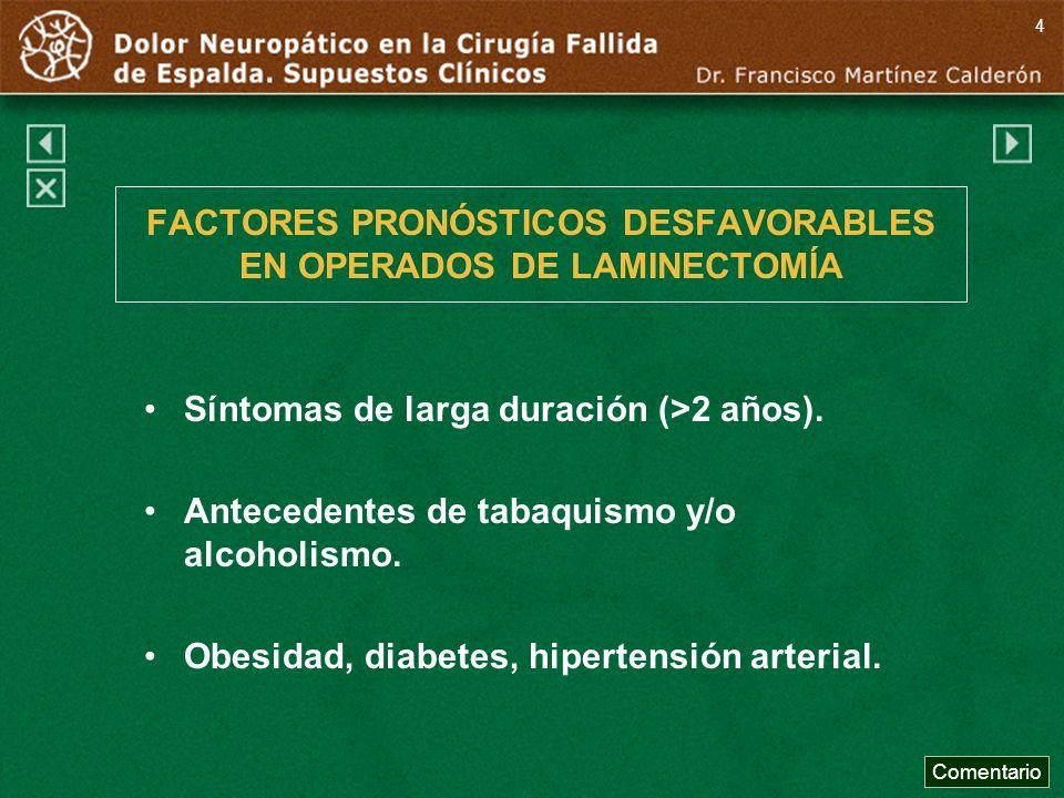 FACTORES PRONÓSTICOS DESFAVORABLES EN OPERADOS DE LAMINECTOMÍA Síntomas de larga duración (>2 años). Antecedentes de tabaquismo y/o alcoholismo. Obesi