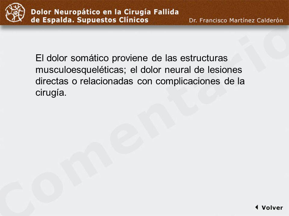 Comentario a diapo3 El dolor somático proviene de las estructuras musculoesqueléticas; el dolor neural de lesiones directas o relacionadas con complic