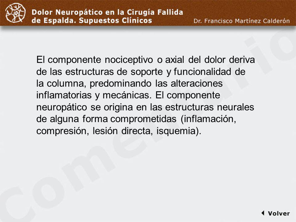 Comentario a diapo4 El componente nociceptivo o axial del dolor deriva de las estructuras de soporte y funcionalidad de la columna, predominando las a