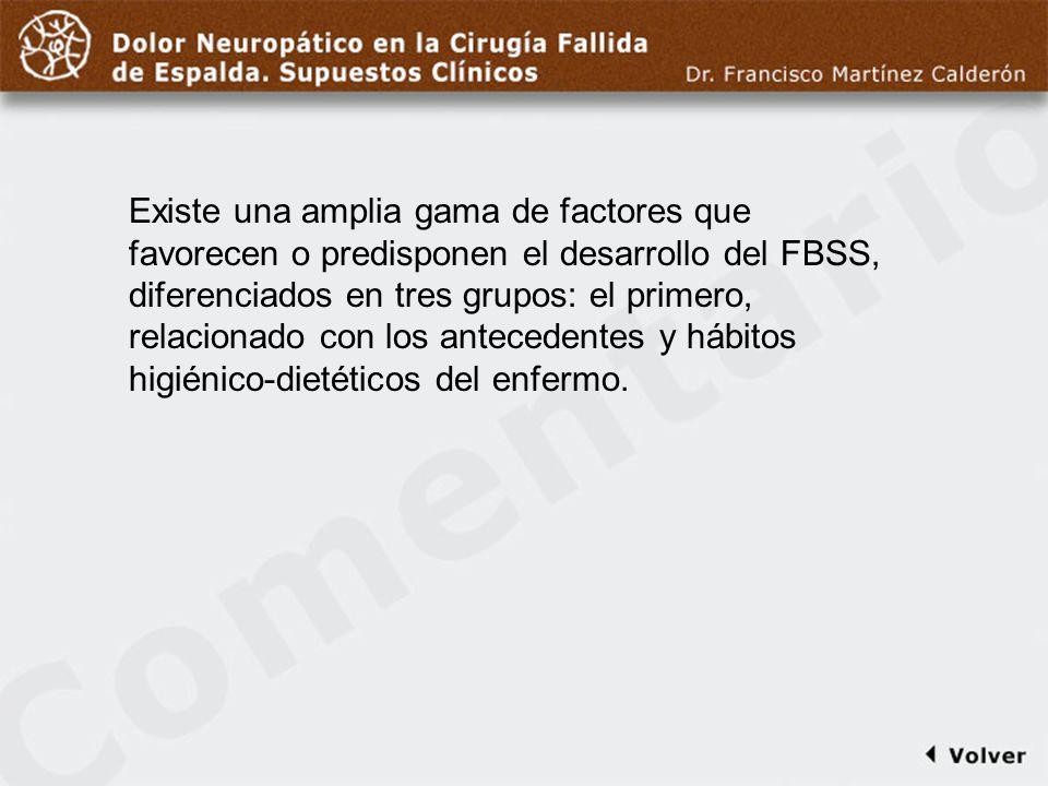 Comentario a diapo5 Existe una amplia gama de factores que favorecen o predisponen el desarrollo del FBSS, diferenciados en tres grupos: el primero, r