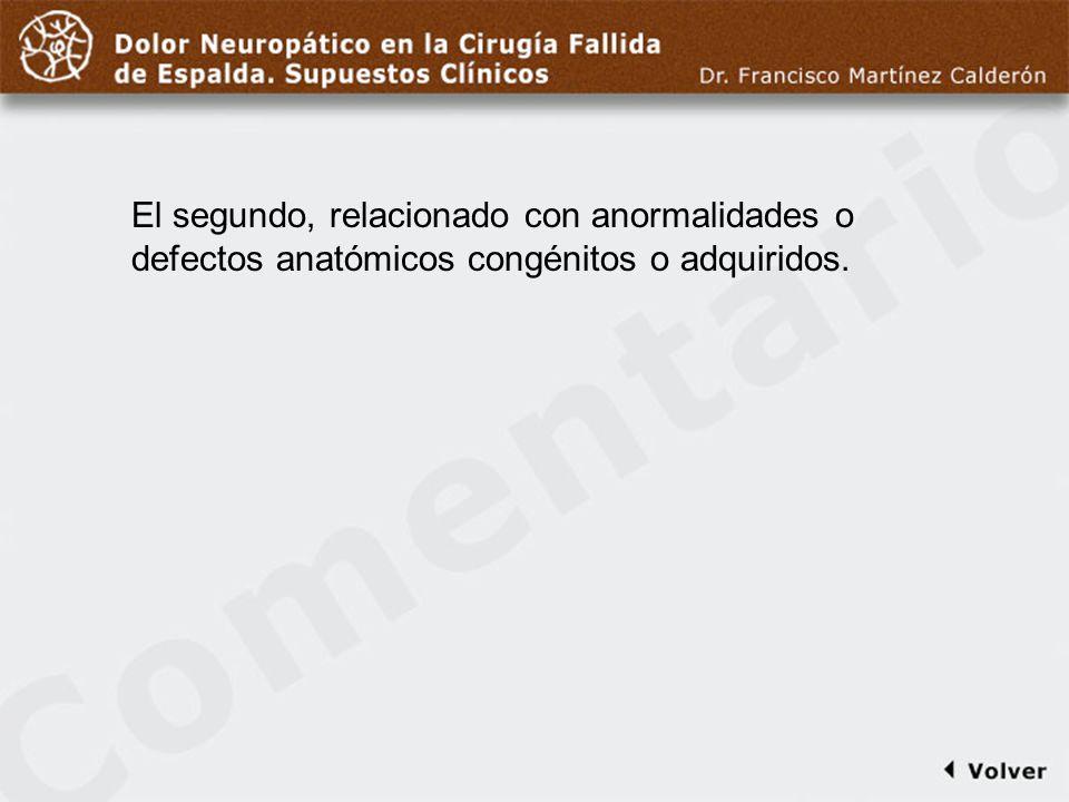 Comentario a diapo6 El segundo, relacionado con anormalidades o defectos anatómicos congénitos o adquiridos.