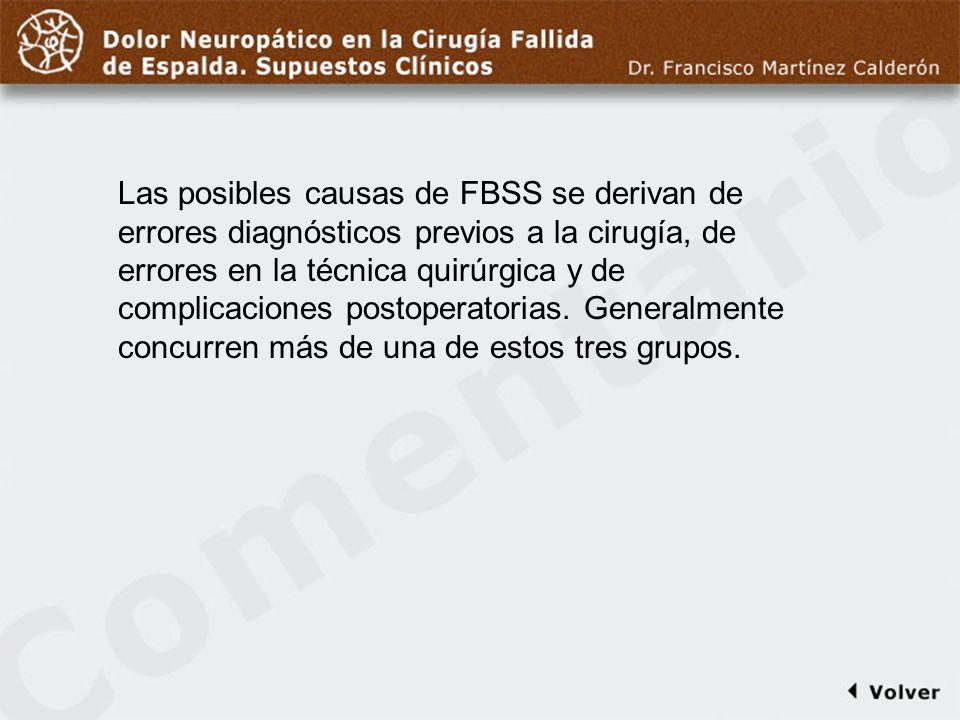 Comentario a diapo9/13 Las posibles causas de FBSS se derivan de errores diagnósticos previos a la cirugía, de errores en la técnica quirúrgica y de c