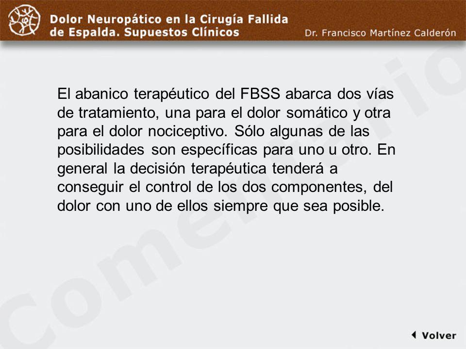 Comentario a diapo17 El abanico terapéutico del FBSS abarca dos vías de tratamiento, una para el dolor somático y otra para el dolor nociceptivo. Sólo